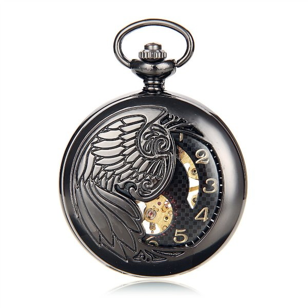 Antique Black Skeleton Phoenix Wings Carving Case Men Hand Wind Fob Clock Fashion Hollow Mechanical Pocket Watch w/Chain