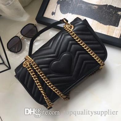 Yeni ünlü moda marka Marmont kadın çanta yüksek kaliteli hakiki deri kapak çanta zincir omuz çantası lüks çanta