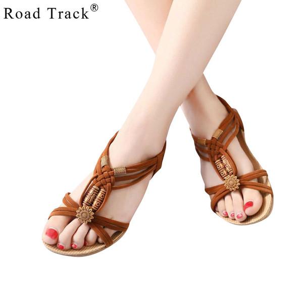 Road Track 2018 New Bohemian Beaded Sandals Women Sandals Flat Shoes Large Size Shoes Woman Sandalias Large Size XWA0924-5
