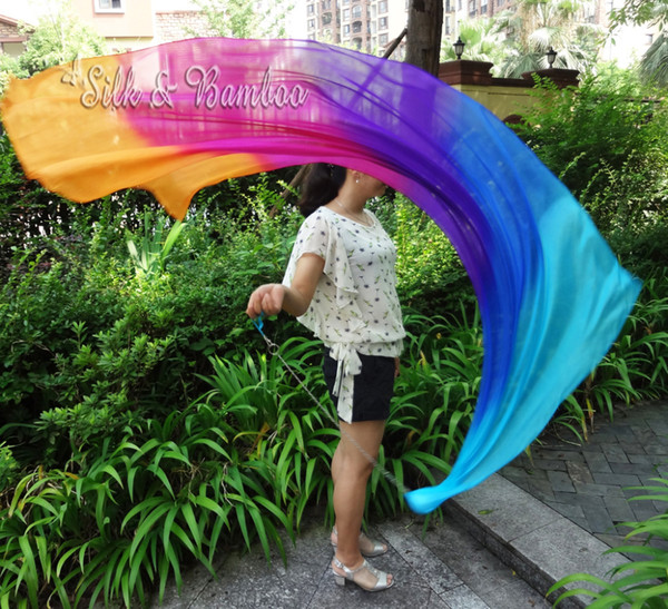 "turquoise-blue-purple-pink-orange, 1 pc 1.8m*0.9m(70""*35"") detachable hand painted belly dance silk veil poi, real flowy silk!"