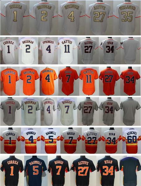 Baseball #1 Carlos Correa 2 Alex Bregman 4 George Springer 11 Evan Gattis 27 Jose Altuve 35 Justin Verlander 60 Dallas Keuchel Jersey