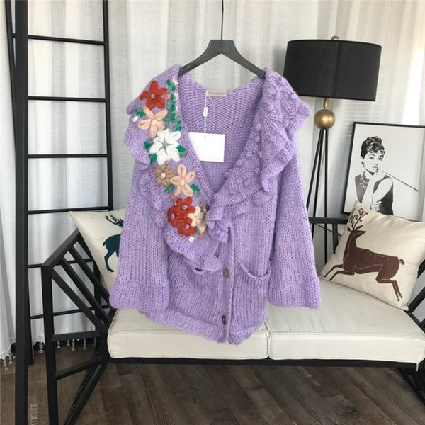 Free Shipping Designer 2019 New Light Purple Long Women's Cardignans Solid Flowers Embroidery Ruffles Sweaters Womens 92873230
