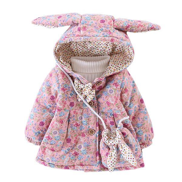 WYNNE GADIS Inverno Neonate Stampa Floreale Carino Coniglio Orecchio Con Cappuccio Arco Bambini Giacca Cappotto Per Bambini Capispalla con Borsa casaco
