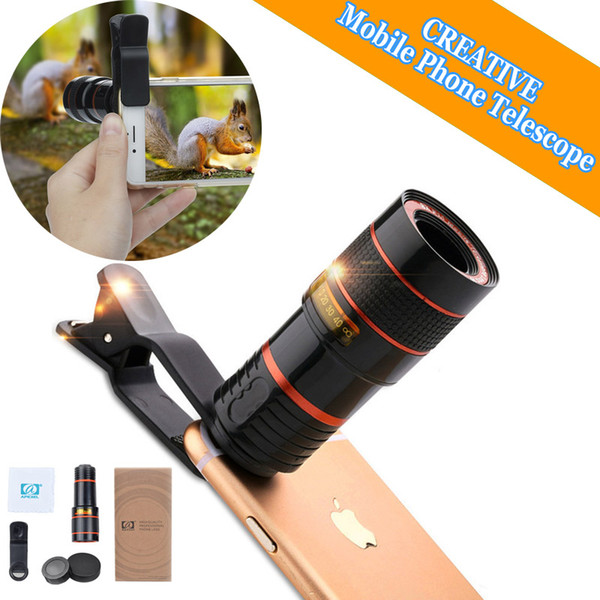 Portable 8X 12X Zoom Optical Phone Telescope Camera Lens with Clip Mobile Phone Telescope Photograph Accessories For iPhone Samsung Huawei