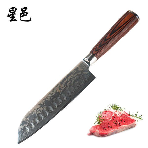 Santiku Knife 7 inch Forged by Japanese Damascus Steel Sharp Chef Knives Superb Edge Retention, Stain & Corrosion Resistant Kitchen Knife