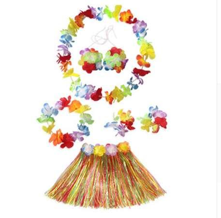 6pcs/Set Hawaiian Decoration Petal Tropical Leis Party Beach Flower Garlands Dress Necklace Wreath Grass Skirt Suit Party Decor