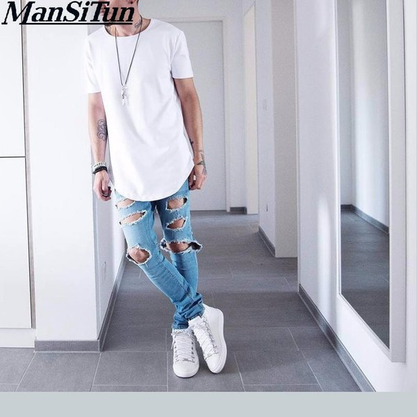 Man si Tun 2017 Summer Men Short Sleeve Extended Hip Hop T shirt Oversized Kpop Swag Clothes Men's Casual kanye west T Shirt