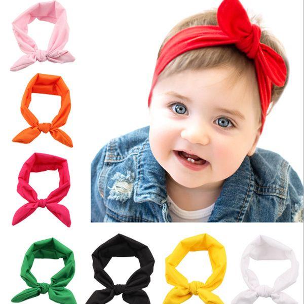 Baby Bunny Ear Headbands Bows Elastic Bowknot Headbands Children Hair Accessories Hairband Kids Turban Knot Headbands Headwear LC693
