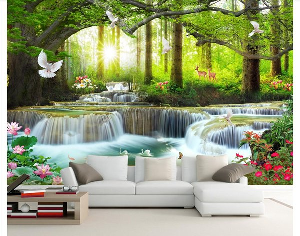 3D wall murals wallpaper custom picture mural wall paper Simple casual green tree forest waterfall landscape tooling wall papers home decor