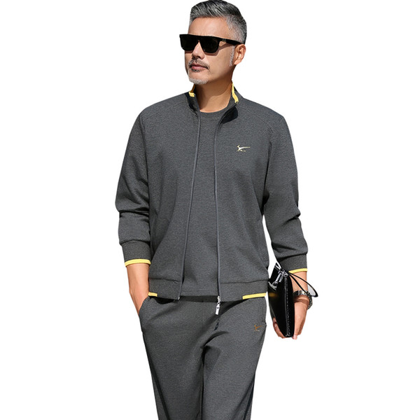 5XL Sweatsuit For Men Big And Tall Casual Jackets Full Zipper With Pockets Running Pants 2 Piece Workout Clothes 8106 Grey Sport Coat Men