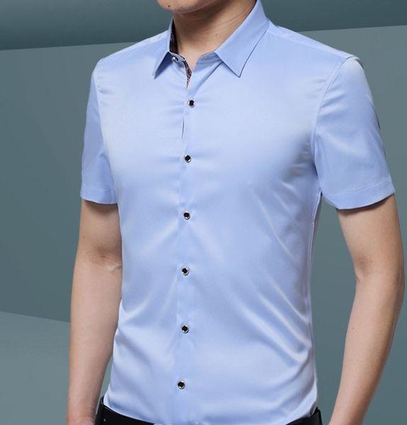 2018 Mens Silk Cotton Dress Shirts Slim Fit Short Sleeve Casual Button Down Shirts, Business Formal Shirts