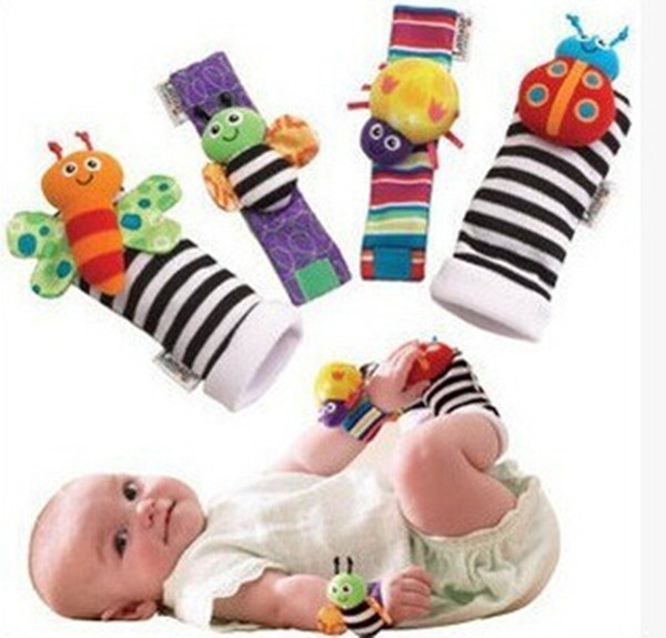 New arrival sozzy Wrist rattle & foot finder Baby toys Baby Rattle Socks Lamaze Plush Wrist Rattle+Foot baby Socks Lovely Cute funny create
