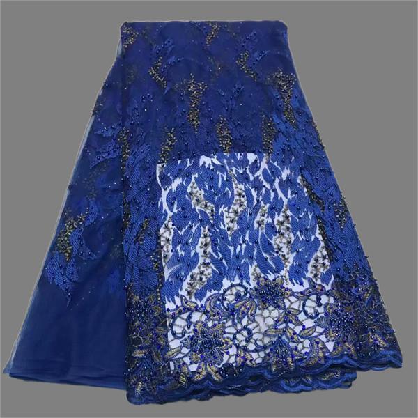 Tela bordada al por mayor del cordón de tela de tul francés tela agradable del cordón con las gotas ZQN114 (5yards / lot)