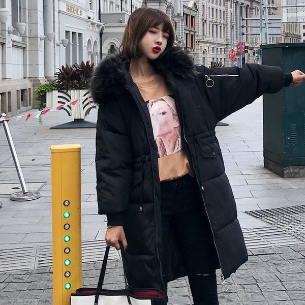 Women Winter Long Down Coat 2018 Fashion Female Big Fur Collar Duck Parkas Jacket Thick Warm Elegant Down Coat Wadded Jacket