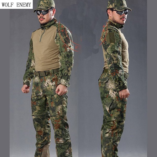 Man Snake Camouflage Uniform Army SWAT Equipment Tactical Combat Suit Pants Shirts Hunting Clothes