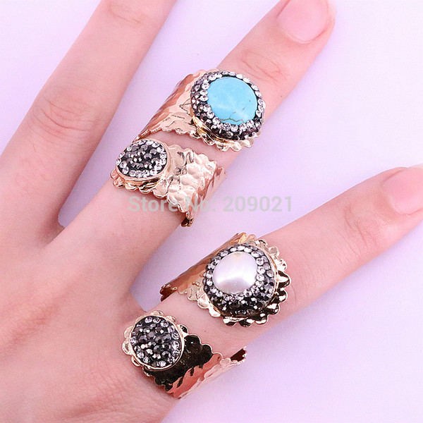 For Women 5Pcs Pave crystal rhinestone natural pearl and blue stone rings adjustable fashion Party Gem jewelry rings