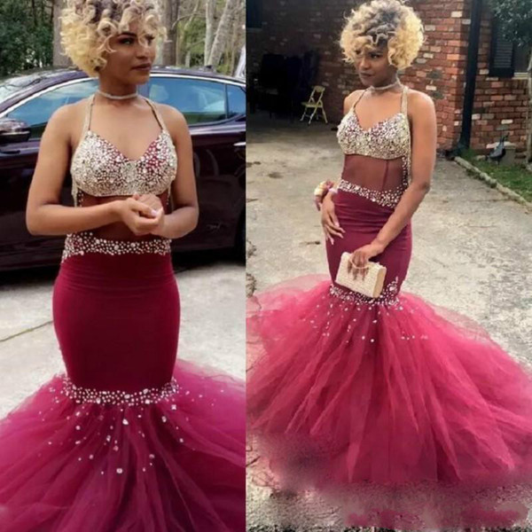Sexy Beads Crystal Mermaid Prom Dresses Burgundy Black Girls African Style Formal Long Party Sexy Evening Gowns Guest Wear Robe De Soiree