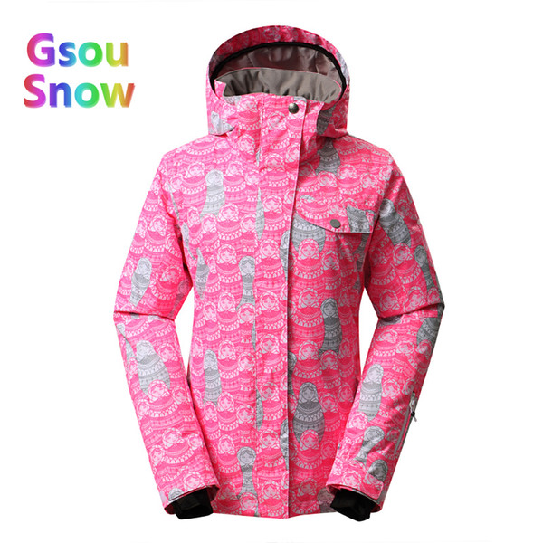 2017 Gsou Sonw Outdoor Sports Winter Women Lattice Snowboarding Warmer Ski Jackets Stripes Waterproof Wave point Skiing Clothing