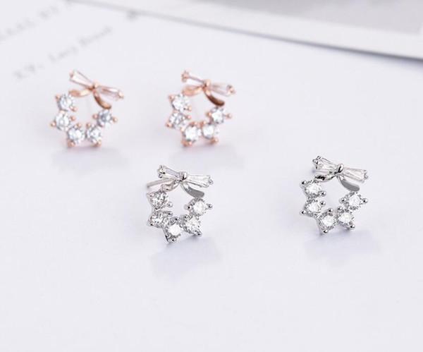 Sterling silver earrings for female temperament Korean personality wild bow delicate small earrings S925 short earrings