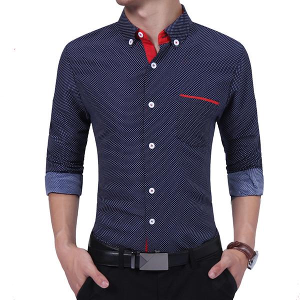 Brand 2018 Fashion Male Shirt Long-Sleeves High Quality Cotton Dots Polka Oversize Mens Dress Shirts Slim Men Shirt 4XL