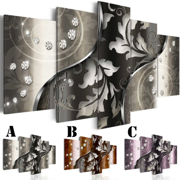 Wall Art Picture Printed Oil Painting on Canvas Unframed Multi-picture Combination 5pcs/set Home Decor Extra Mirror Border silver leaf line