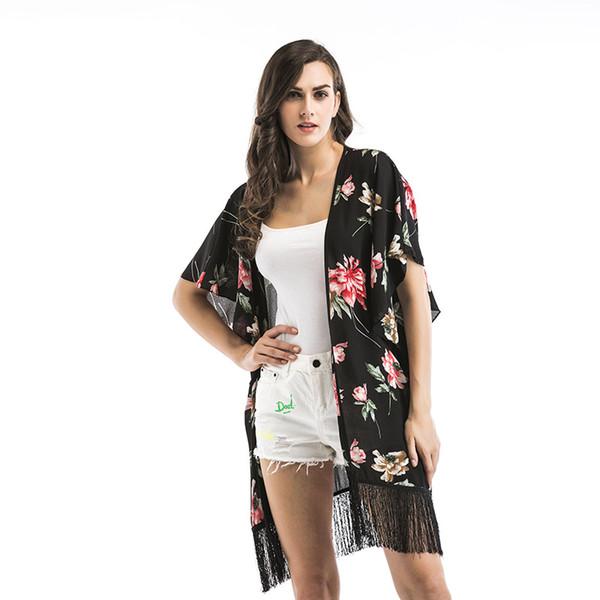 EURO STYLE WOMEN Smock FASHION WOMEN 's Gesamt-Blumendruck, halbe Ärmel aus Chiffon-Bluse DAME Sommer-Top-Bluse-Shirts