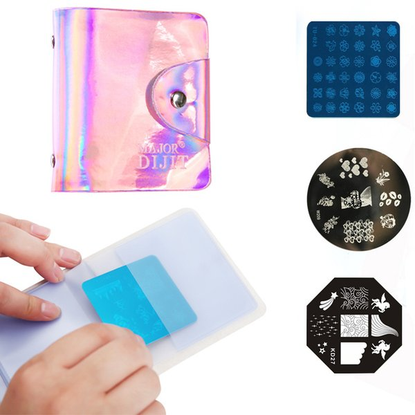 32 Slots Nail Art Stamping Plate Empty Case Holder Square Round Plates Concise Storage Bag Manicure Stamp Template Organizer New