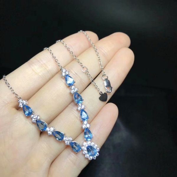 natural blue topaz gem Necklace natural gemstone Pendant Necklace S925 Fashion elegant Water drop woman party gift fine Jewelry