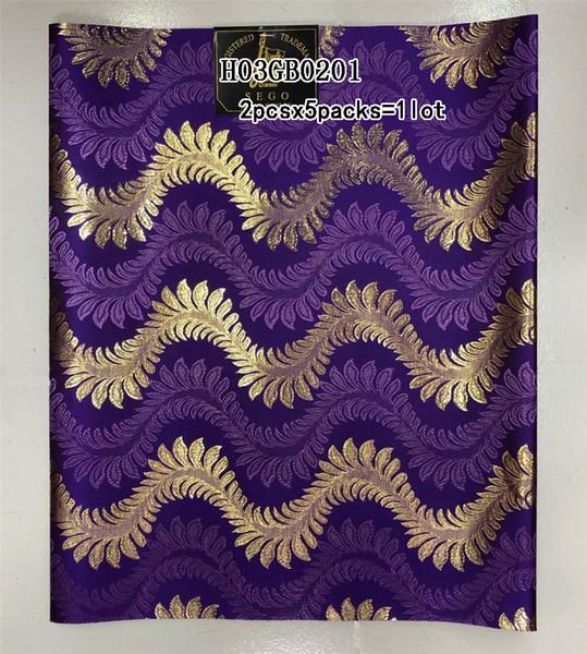 Gros Nouveau Design double couleur nigeria haute qualité africaine SEGO headtie utilisé pour la partie or et violet H03GB0201