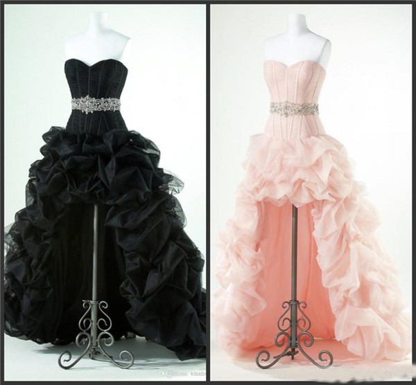 High Low Prom Dresses With Beaded Sash Bandage Elegant Short Front Long Back Black Ruffled Tulle Fashion Evening Party Gowns