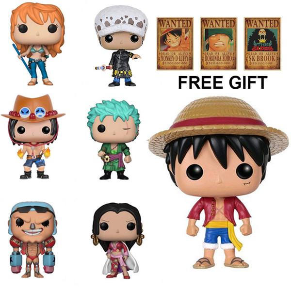 One Piece Funko POP Luffy Tony Tony Chopper Trafalgar`Law Ace Action Figures PVC Anime Toys Japanese Cartoon Doll Toys For Collection 10cm