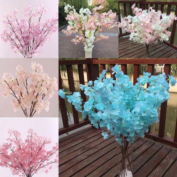 5 цвет пластика шелк искусственные цветы вишни декоративные цветы для свадьбы поделки персиковый цвет вишня слива филиал декоративные поддельные цветы