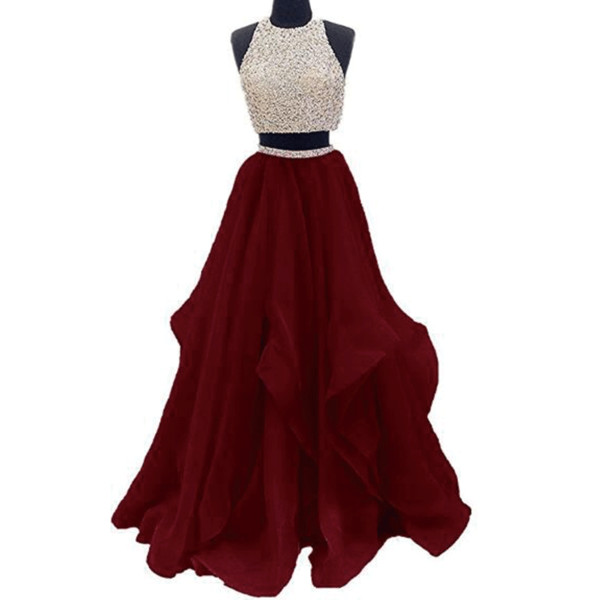 2 Piece Prom Dresses 2018 Long Beaded Tulle Sexy Open Back Prom Gown Casamento