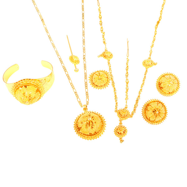 Ethiopian Gold Jewelry Set Hair Chain Forehead Chain 6pcs Accessory Bridal Wedding Jewelry