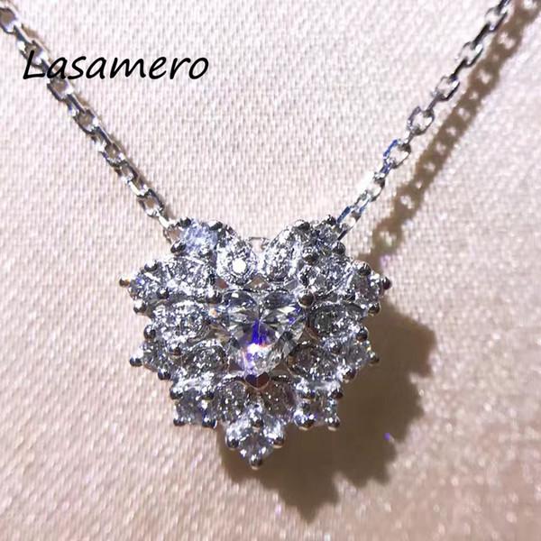 LASAMERO Halo 0.205CT 18k White Gold Heart Cut Natural Diamond Accents Romantic Pendant Necklace Chains S923