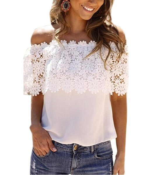 Floral Lace Blouse Crochet Flower Off Shoulder T-shirt Sexy Stitching Wild Ladies Loose Top&Tees Plus Size