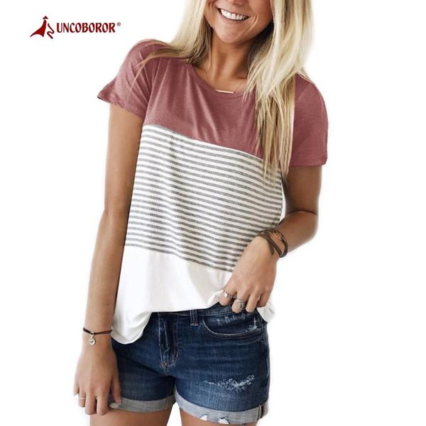 UNCOBOROR Novas Mulheres Esportes de Verão T-shirt Respirável Manga Curta Listrado Camisetas Caminhadas Ao Ar Livre Aptidão Jogging Tops Tees