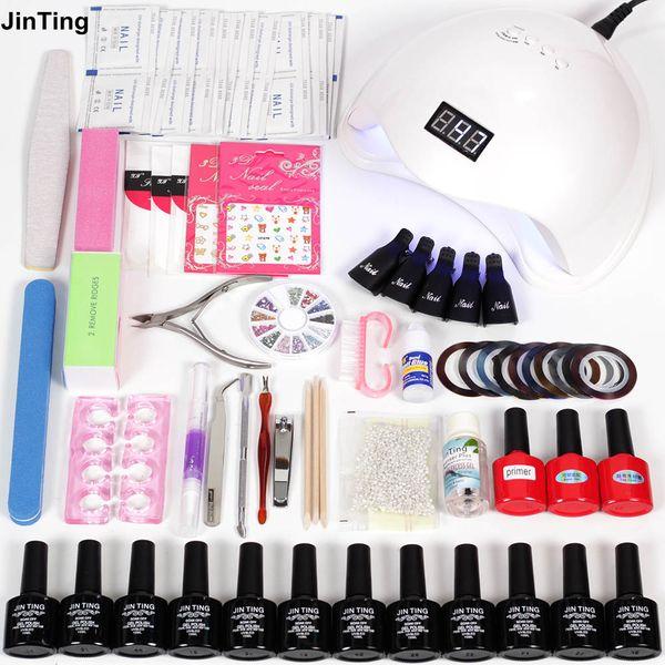 JinTing nail art set gel varnish set apparatus manicure 6w/48w led lamp curing 12 pcs nail polish uv gel glitter manicure
