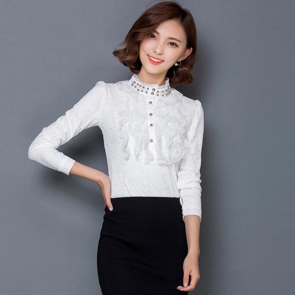 Encaje blanco camiseta mujer Casual Otoño Invierno Camisetas Para Mujer Dulce Camiseta Mujer Tallas grandes Top Tee Negro B308