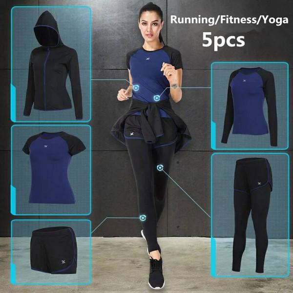 Vansydical 2018 costumes de sport pour femmes Fitness Yoga Set Running Sportswear Formation à séchage rapide Jogging Gym Vêtements de sport Ensemble 5pcs