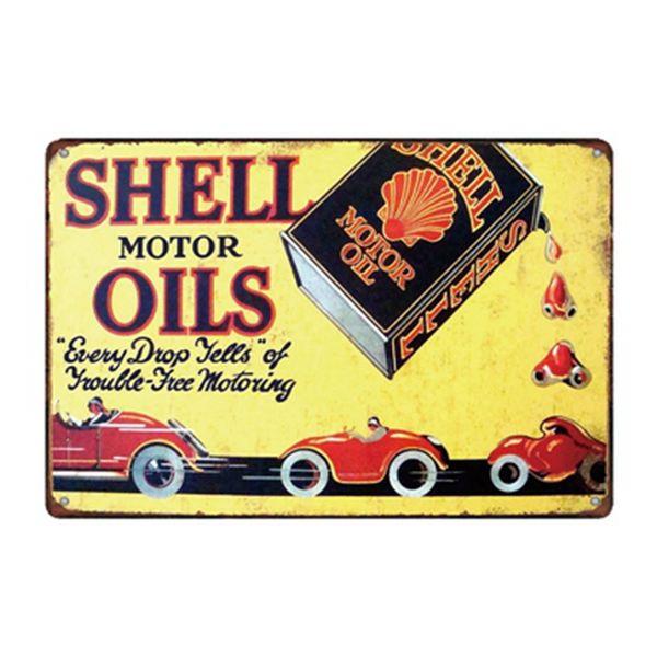 Shell Motor Oils Vintage Rustic Home Decor Bar Pub Hotel Restaurant Coffee Shop home Decorative Metal Retro Metal Tin Sign
