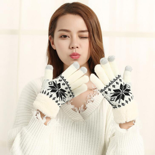 Fashion Lovely Female Autumn Winter Knit Cotton Thicker Cashmere Velvet Warm Gloves Cute Women Snowflakes Pattern Mittens L86 D18110806