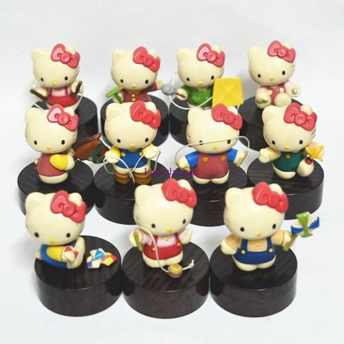 11 pcs/set Anime Hello Kitty Action Figures Chinese Traditional Sports Ver. Kitty Cat Kids Toys for Kids Phone Accessories
