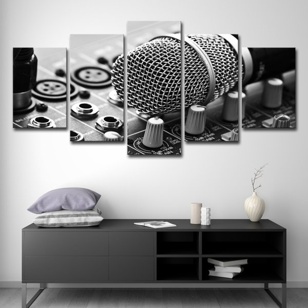 5PCS Canvas HD Prints Pictures Framework 5 Pieces Music Microphone Paintings Home Wall Art Decor Living Room Mixing Consoles Posters