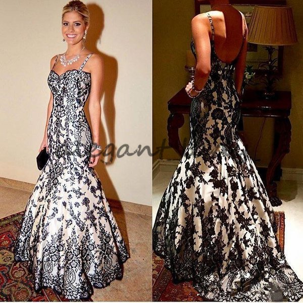 Real Picture Gothic White And Black Mermaid prom dresses Arabic 2018 Spaghetti Strap Corset evening gowns Plus Size robe de mariée