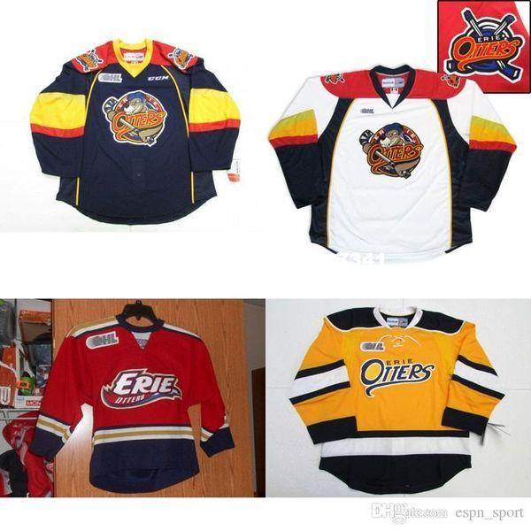 Özel Özel Mens OHL Erie Otters En kaliteli Buz Hokeyi Sınırlı Mavi Beyaz Kırmızı Sarı Ucuz Formalar Kaleci Cut Özel Herhangi İsim NO. Formalar