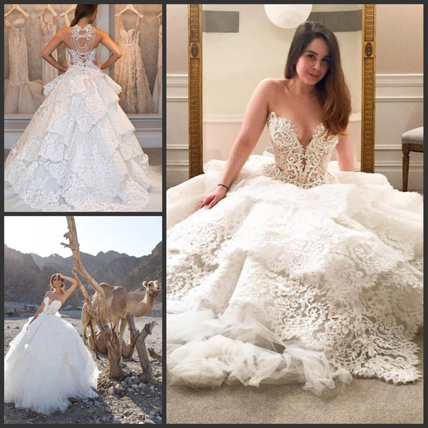 2019 New Luxury Lace Wedding Dresses Beaded Pearls Tiered Sweetheart Backless Bridal Gowns Sweep Train Pnina Tornai Plus Size Wedding Dress