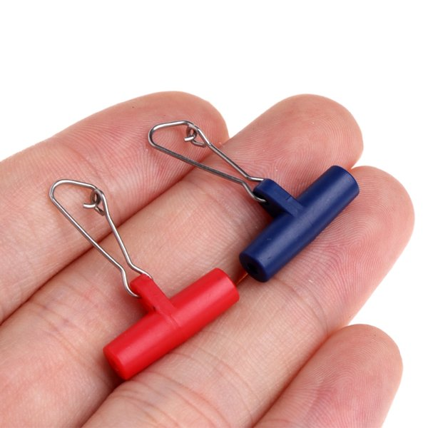 10pcs Fishing Sinker Slip Clips Blue Plastic Head Swivel With Hooked Snap Fishing Weight Slide For Braid Fishing Line