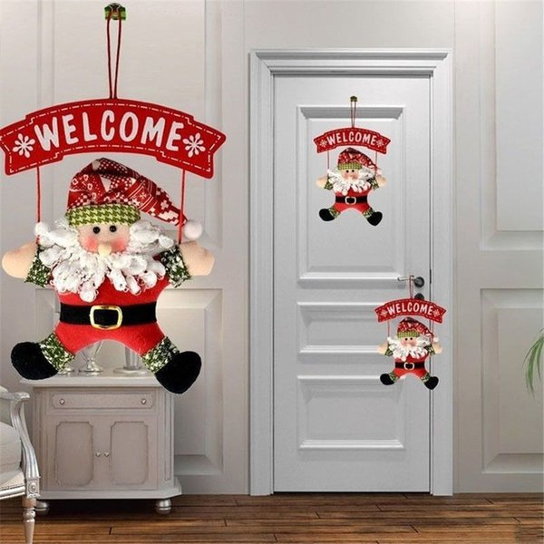 Santa Claus Christmas Fabric Hanging Decorations Party Home Ornament Decor Door Hanging Home Living Accessories new year Y18102909