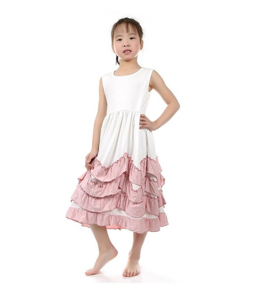 2018 New Flower Girls Maxi Dress Children Sleeveless Cotton Ruffles Cake Dress Layered Holiday Party Dress Baby Kids Clothes Vestido B11